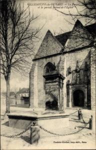 Ak Villeneuve la Guyard Yonne, La pompe et le portail lateral de l'Eglise
