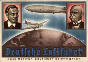 Künstler Ak Deutsche Luftfahrt, Graf Zeppelin, Luftschiff LZ 129, Junkers Passagierflugzeug
