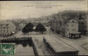 Ak Honfleur Calvados, Vue generale sur St Leonard et place Thiers ville fondee vers l'an 1090