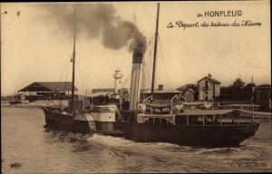 Ak Honfleur Calvados, Le Depart du bateau du Havre, Dampfer