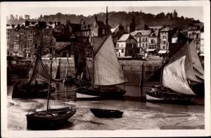 Ak Honfleur Calvados, Le Port et la Cote de Grace, Segelboote