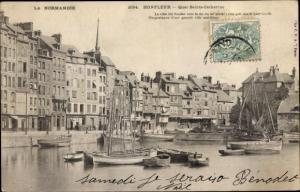 Ak Honfleur Calvados, Quai Sainte Catherine, Segelboote