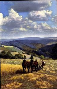 Ak Nenke und Ostermaier 155 2835, Photochromie, Bauer mit Pferdefuhrwerk, Feld