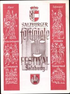 Wappen Ak Salzburg Österreich, Salzburger Feststpiele Festival, Oper, Schauspiel, Orchesterkonzerte