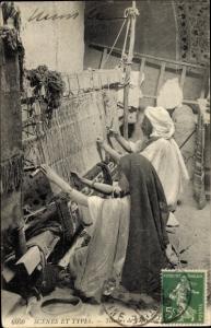 Ak Algerien, Scenes et Types, Tisseurs de Tapis, Teppichweber