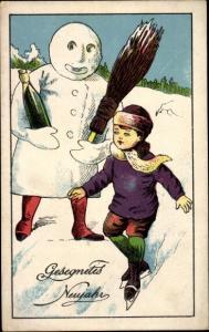 Ak Glückwunsch Neujahr, Schneemann  mit Besen und Sektflasche, Junge mit Schlittschuhen