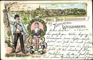 Litho Weißenberg in der Oberlausitz, Fahnenweihe des Turnverein 1901, Stadtpanorama