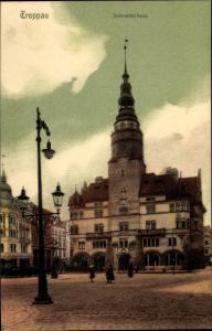 Ak Opava Troppau Reg. Mährisch Schlesien, Schmetterhaus, Stadtansicht