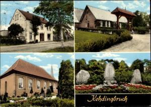 Ak Kehdingbruch Belum in Niedersachsen, Denkmal, Friedhof, Kapelle, Geschäft?, Gehöft?
