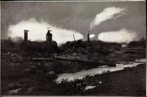 Ak Hamburg Bergedorf Neuengamme, Erdgasbrand 1910