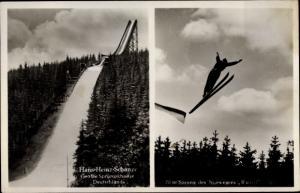 Ak Johanngeorgenstadt im Erzgebirge Sachsen, Hans Heinz Schanze, Norwegischer Skispringer Ruud