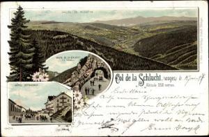 Litho Col de la Schlucht Vosges, Vallee de Munster, Hotel Defranoux, Route de la Schlucht, Le Tunnel
