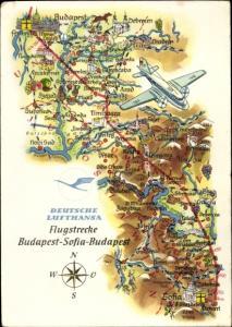 Landkarten Ak Deutsche Lufthansa, Werbung, Flugstrecke Budapest Sofia