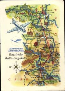 Landkarten Ak Deutsche Lufthansa, Werbung, Flugstrecke Berlin Prag