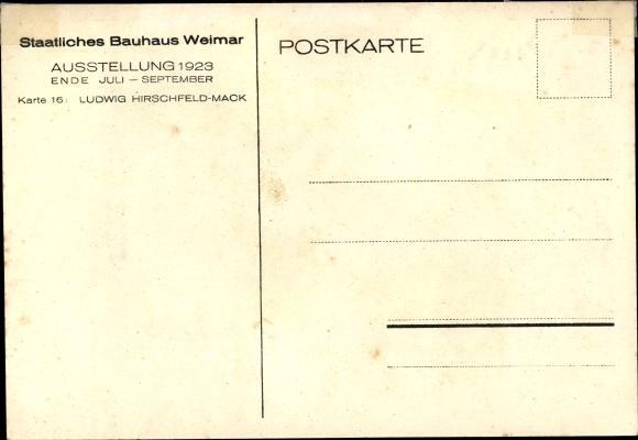 Künstler Ak Hirschfeld Mack, Ludwig, Weimar in Thüringen, Staatliches Bauhaus, Ausstellung 1923 1