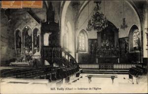 Ak Vailly sur Sauldre Cher, Interieur de l'Eglise