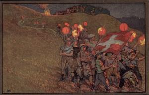 Ganzsachen Ak Schweizer Bundesfeier 1912, Schweizer Rotes Kreuz, Schweizer Flagge