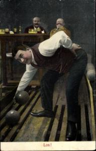 Ak Männerrunde beim Kegeln, Bier, Los