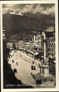 Ak Innsbruck in Tirol, Maria Theresienstraße mit Annasäule