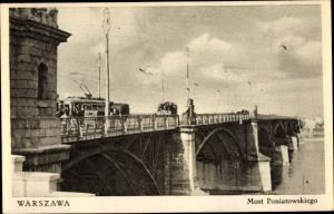 Ak Warszawa Warschau Polen, Most Poniatowskiego, Straßenbahnbrücke