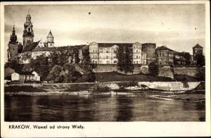 Ak Kraków Krakau Polen, Wawel od strony Wisly