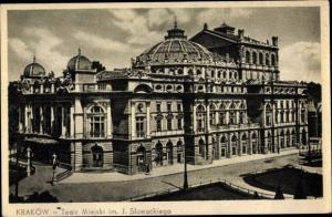 Ak Kraków Krakau Polen, Teatr Miejski im. J. Slowackiego, Gesamtansicht