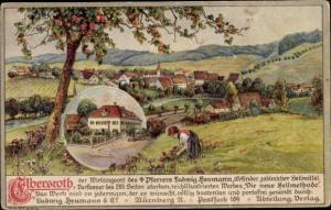 Künstler Ak Elbersroth Herrieden an der Wieseth, Pfarrer Ludwig Neumann, Mädchen pflückt Blumen