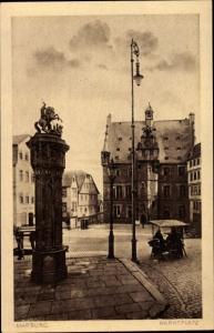Ak Marburg an der Lahn, Wehr, Marktplatz