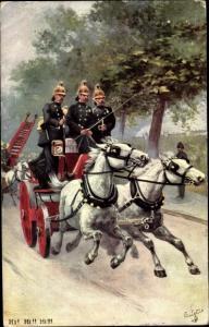Künstler Ak Fighting the Flames, Feuerwehr, Löschwagen, Tuck 9306