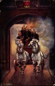 Künstler Ak A Call, Fighting the Flames, Feuerwehr, Löschwagen im Einsatz, Tuck 9306