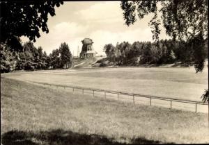 Ak Gnoien in Mecklenburg Vorpommern, Sportplatz und HOG Zum Mühlenberg