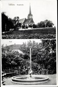 Ak Schleiz im Vogtland Thüringen, Bergkirche, Park, Brunnen