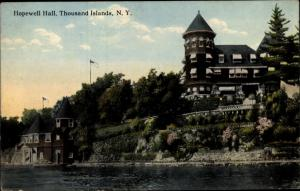 Ak Alexandria New York USA, Hopewell Hall, Thousand Islands, coast, houses