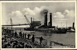 Ak Wieringen Hollands Kroon Nordholland Niederlande, Industrieschiff, Hafen Papendrecht