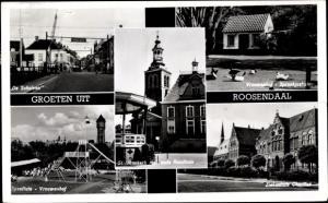 Ak Roosendaal Nordbrabant Niederlande, De Schuiven, Vrouwenhof, Speeltuin, St. Janskerk, Ziekenhuis