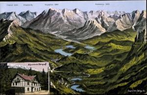 Landkarten Ak Felle, E., Fernpass in Tirol, Alpenhotel, Zugspitze, Sonnenspitze