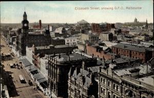 Ak Melbourne Australien, Elizabeth Str., showing GPO, bird's eye view
