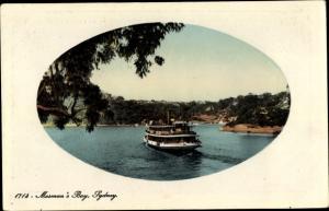 Passepartout Ak Mosman Sydney Australien, Mosman's Bay, steamer