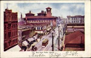 Ak Pueblo Colorado USA, 716. Main Street, bird's eye view, tram, pedestrians