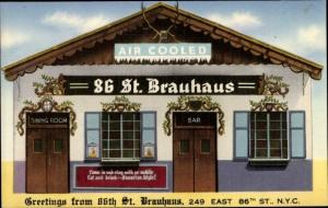 Künstler Ak New York City USA, 86th Street, Brauhaus, exterior view, air cooled sign