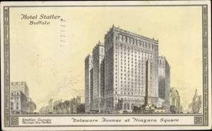 Ak Buffalo New York USA, Hotel Statler, general view, Delaware Avenue at Niagara Square