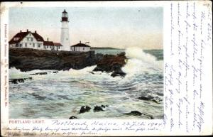 Ak Portland Maine USA, coast, breakers, lighthouse