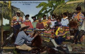 Ak Everglades Florida USA, traditional fur trading, natives and trapper