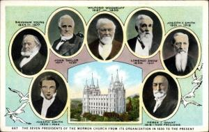 Ak Salt Lake City Utah USA, seven Presidents of the Church of Mormons, portraits, Joseph Smith