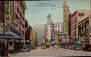 Ak Vancouver British Columbia Kanada, Granville Street, traffic, Vogue, 76 and New Orpheum sign