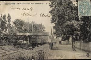 Ak Bois Colombes Hauts de Seine, Passerelle sur la ligne de Saint Germain