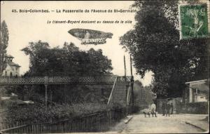 Ak Bois Colombes Hauts de Seine, La Passerelle de l'Avenue de Saint Germain, Le Clement Bayard