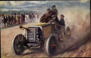 Künstler Ak Automobil, Rennwagen, Zuschauer, Tuck 585