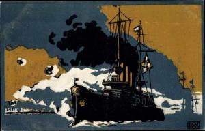 Künstler Ak Scholz, Adolf, Deutsches Kriegsschiff, Deutsches Rotes Kreuz