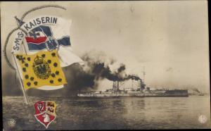 Ak Deutsches Kriegsschiff SMS Kaiserin, Wappen, Reichskriegsflagge, NPG